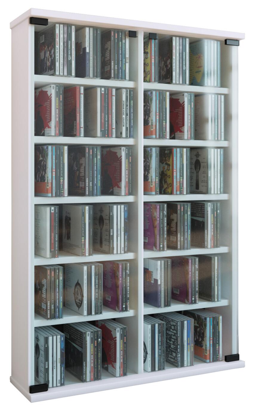 VCM CD / DVD Möbel Roma - Schrank / Regal in 6 Farben: weiß