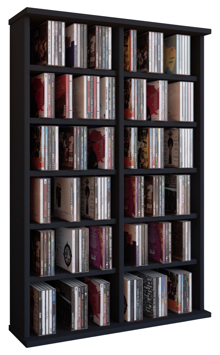 VCM CD / DVD muebles Ronul - armario / estante sin puerta de cristal en 7 colores: negro