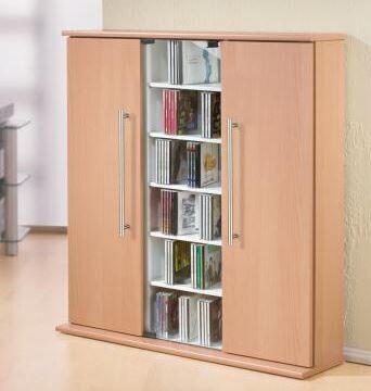 VCM CD / DVD Schrank Santo - Regal in 3 Farben: buche