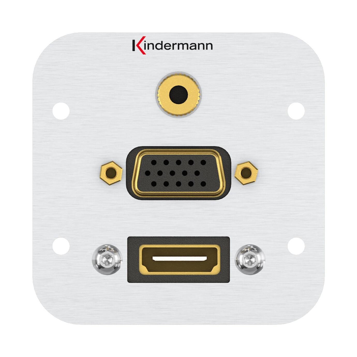 Kindermann Konnect Anschlussblende HDMI, VGA, Audio Klinke 3,5mm Stereo mit Kabelpeitsche Vollblende 54 x 54 mm Aluminium eloxiert