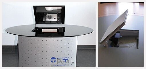 PeTa Motorisches Klapp-Spiegelsystem Tischversion inkl. MediaMobil-Schrank