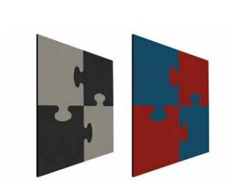 Smit Visual Shapes Pin Panels Pinntafel, ohne Profil 100x100 cm Puzzle rot-blau