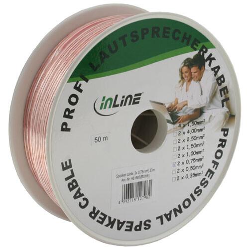 InLine Lautsprecherkabel , 2x 0,75 qmm, CCA, transparent, 50m