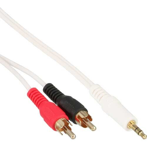 InLine Cinch/Klinke Kabel, 3.5mm Stereo-Stecker auf 2x Cinch-Stecker, 2,5m