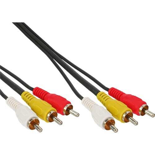 InLine Cinch Kabel, Audio/Video 3x Cinch, Stecker / Stecker, 0,5m