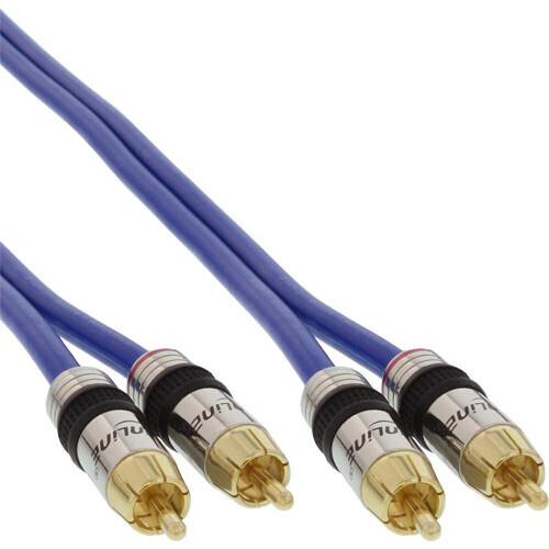 InLine Cinch Kabel AUDIO, PREMIUM, vergoldete Stecker, 2x Cinch Stecker / Stecker, 15m