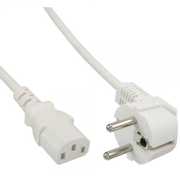 InLine Netzkabel, Schutzkontakt gewinkelt auf Kaltgerätestecker C13, 1,8m, weiß
