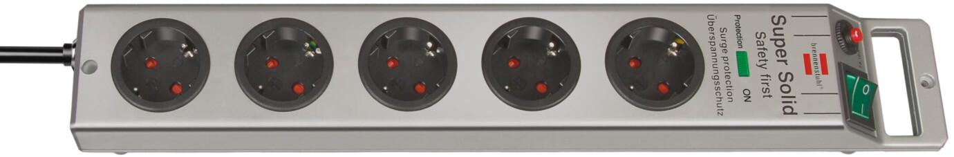 Brennenstuhl Super-Solid 4.500 A Überspannungsschutz-Steckdosenleiste 5-fach silber
