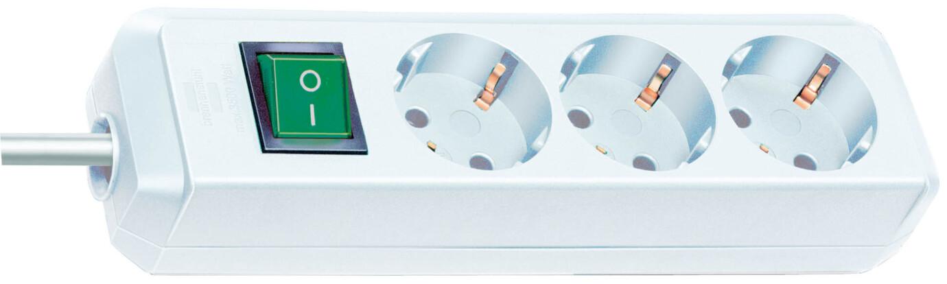 Brennenstuhl Eco-Line Steckdosenleiste mit Schalter 3-fach 3 m Kabel weiß