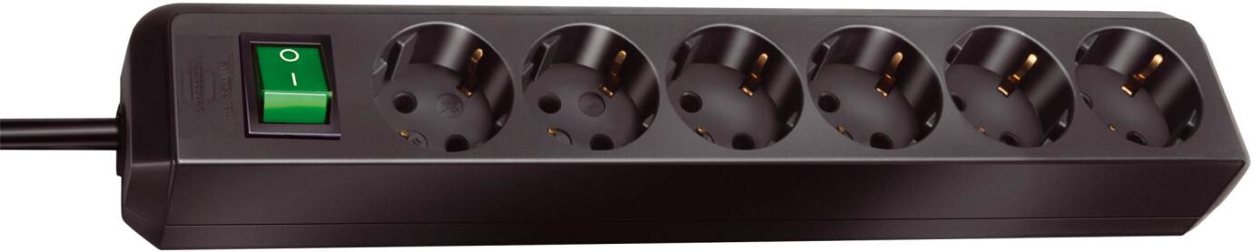 Brennenstuhl Eco-Line Steckdosenleiste mit Schalter 6-fach 1,5 m Kabel schwarz