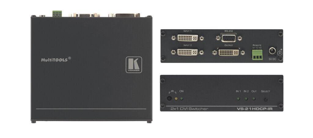 Kramer VS-21HDCP-IR 2x1 HDCP-konformer DVI-Umschalter mit Fernbedienung