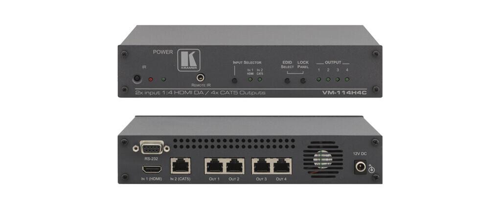 Kramer VM-114H4C 2x1:4 HDMI-CAT Verteiler (2x HDMI auf 4x CAT)