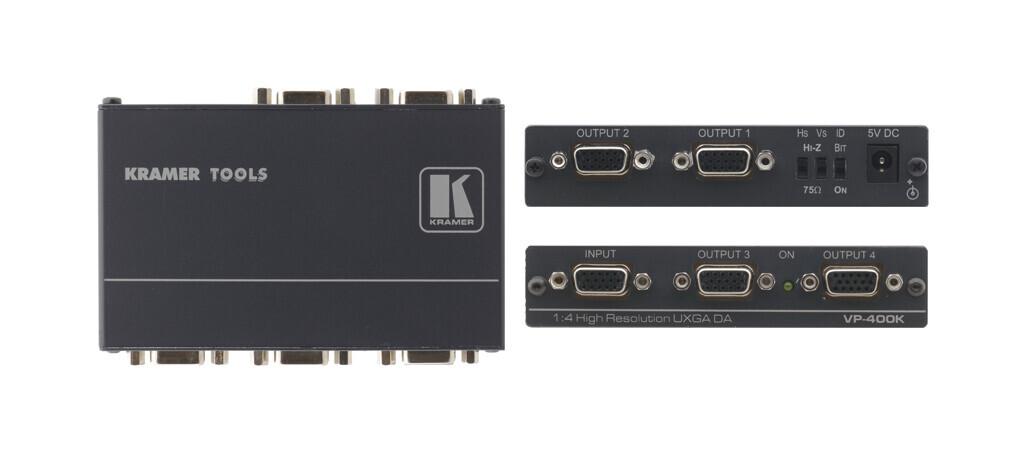 Kramer VP-400K 1:4 UXGA-Verteilverstärker mit Kr-isp® Sync-Bearbeitung
