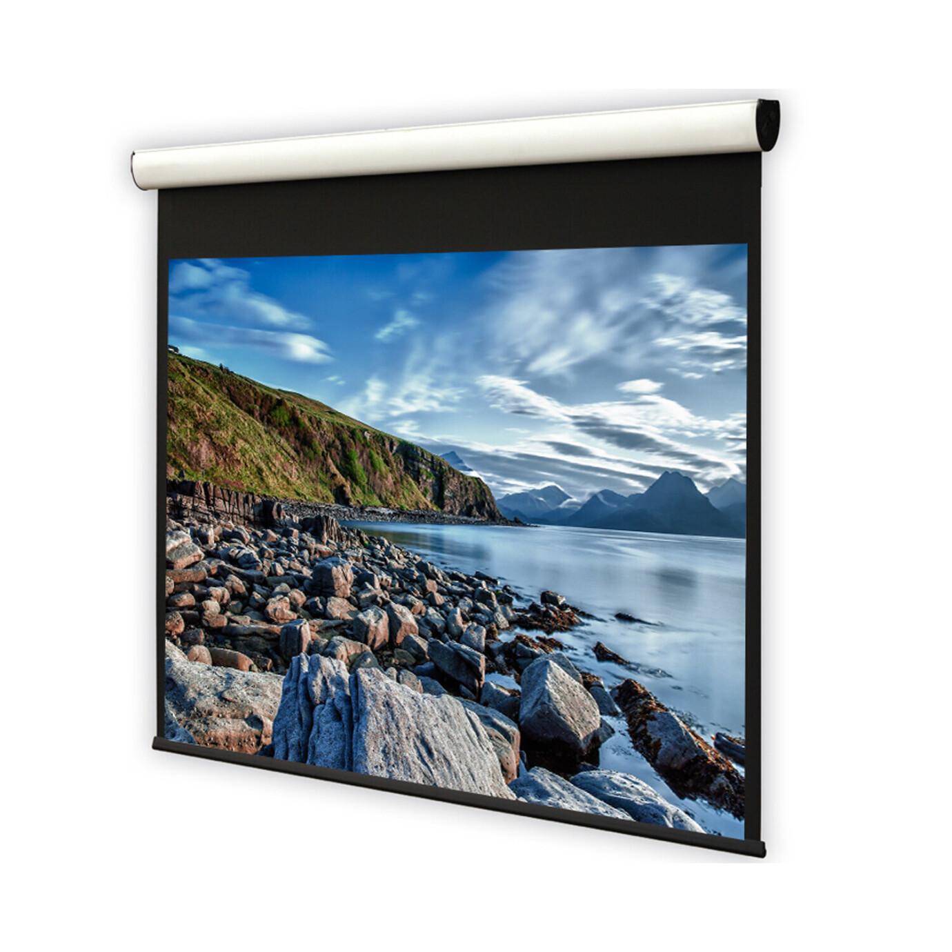 DELUXX Cinema Elegance schermo motorizzato colore bianco opaco 1:1 Varico Home 203 x 203 cm