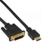 Inline HDMI-DVI-kabel, guldpläterade kontakter, HDMI hane till DVI 18 +1 Connector, 2m