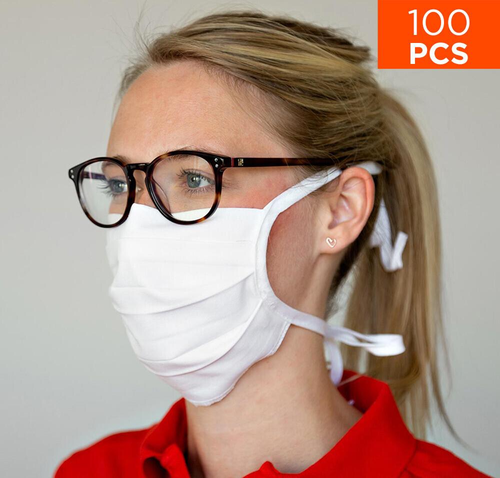 celexon Behelfs- Mund- und Nasenmaske Premium 100% Baumwolle mehrlagig ÖkoTex100 - 100er Pack - mit