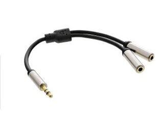 InLine Slim Audio Y-Kabel Klinke 3,5mm Secker an 2x Klinke Buchse, 0,15 m