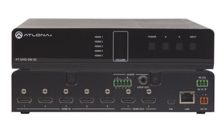 Atlona AT-UHD-SW-52 HDMI Switcher 5 X 2