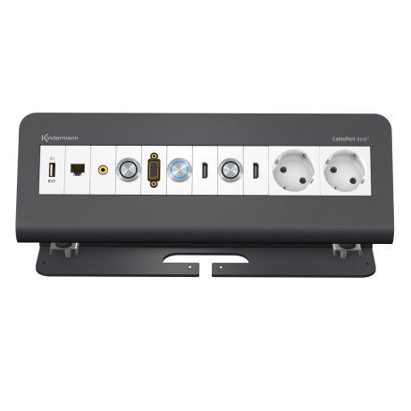 Kindermann CablePort Desk 2 6 -fach für Quickselect 3.0 Pulverbeschichtet, schiefergrau (RAL 7015)