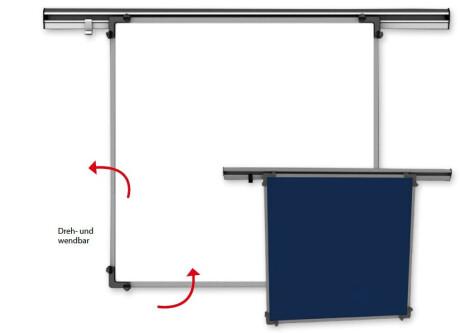 KROmedia Schreibtafel Emaille weiß/Textil blau 100/120 cm