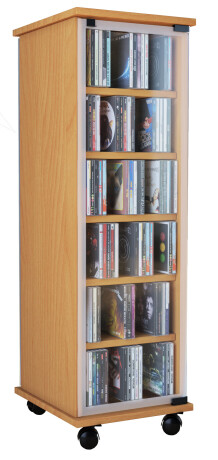 VCM CD / DVD Möbel Valenza - drehbares Regal in 3 Farben: buche