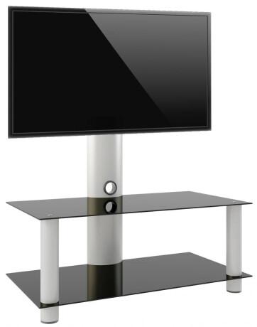 """VCM TV-Rack mit Halterung """"Valeni Mini"""" Silber mit 2 Glasböden Schwarzglas 95 cm"""