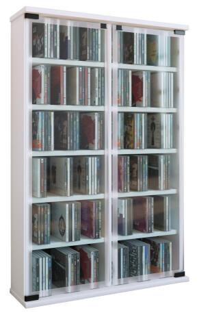 "VCM CD / DVD Möbel ""Galerie""   Schrank / Regal weiss"