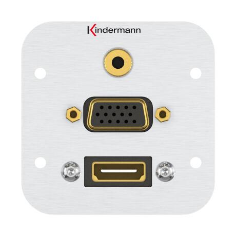 Kindermann Konnect Anschlussblende HDMI, VGA, Audio Klinke 3,5mm Stereo mit Kabelpeitsche Vollblende