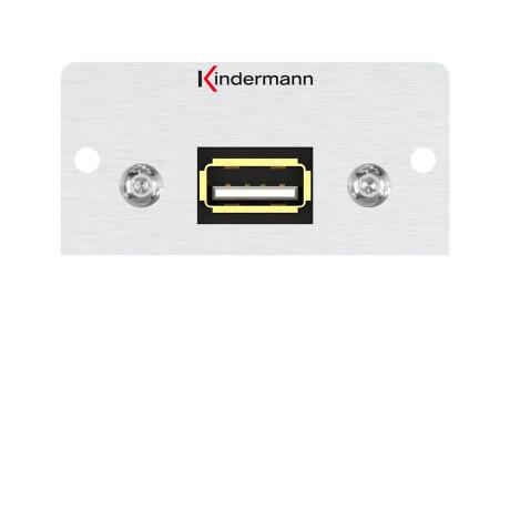 Kindermann Konnect Alu 50 USB 2.0, 1 m - Anschlussblende mit Kabelpeitsche