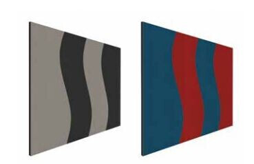 Smit Visual Shapes Pin Panel bulletin, Wave, rot-blau 90x120 cm