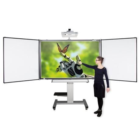 Cleverboard fahrbares, elektrisch höhenverstellbares System mit 2 Flügeln ohne Projektor