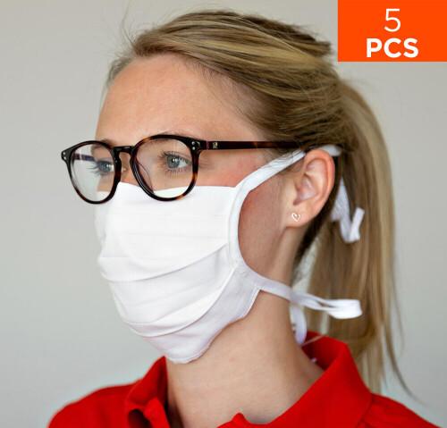 celexon Behelfs- Mund- und Nasenmaske Premium 100% Baumwolle mehrlagig ÖkoTex100 - 5er Pack - mit Bi