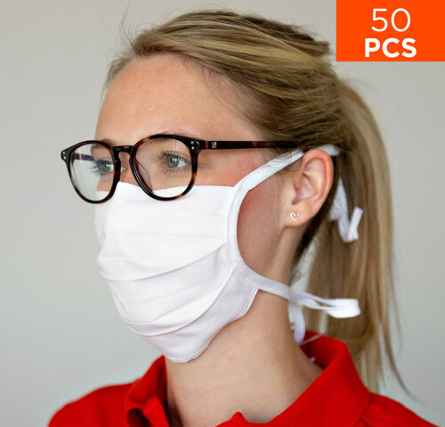 celexon Behelfs- Mund- und Nasenmaske Premium 100% Baumwolle mehrlagig ÖkoTex100 - 50er Pack - mit B