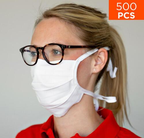 celexon Behelfs- Mund- und Nasenmaske Premium 100% Baumwolle mehrlagig ÖkoTex100 - 500er Pack - mit