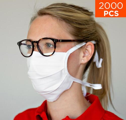 celexon Behelfs- Mund- und Nasenmaske Premium 100% Baumwolle mehrlagig ÖkoTex100 - 2000er Pack - mit