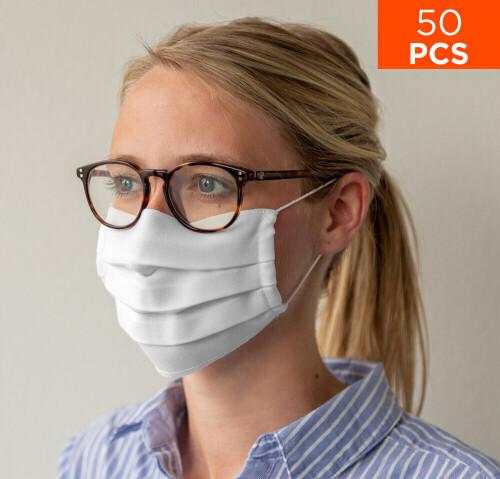 celexon Behelfs- Mund- und Nasenmaske Premium 100% Baumwolle mehrlagig ÖkoTex100, mit Gummi - 50er P