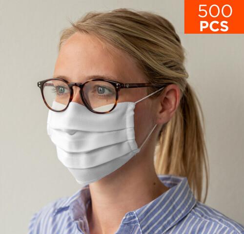 celexon Behelfs- Mund- und Nasenmaske Premium 100% Baumwolle mehrlagig ÖkoTex100, mit Gummi - 500er